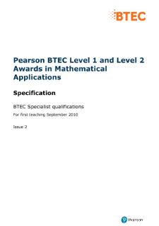 BTEC Level 1 Award in Mathematical Applications specification