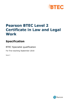 BTEC Level 2 Certificate in Law and Legal Work specification
