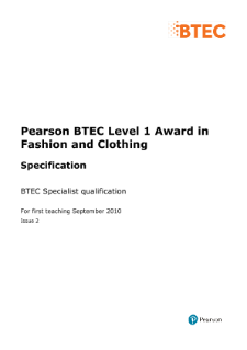 Btec Level  Fashion And Clothing Specification