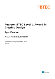 BTEC Level 2 Graphic Design specification