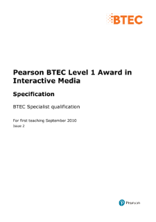 BTEC Level 1 Interactive Media specification