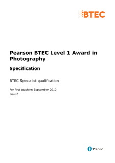 BTEC Level 2 Photography specification
