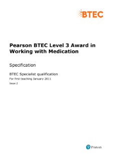 BTEC Level 3 Award in Working with Medication specification