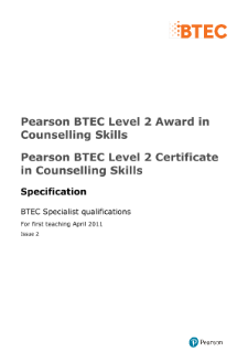 BTEC Level 2 Counselling Skills specification