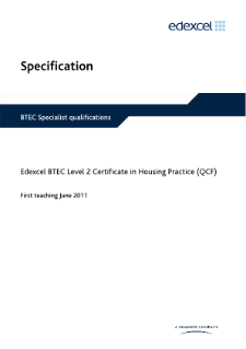 BTEC Level 2 Certificate in Housing Practice specification