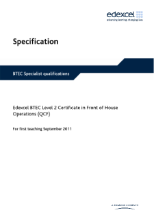 BTEC Level 2 Certificate in Front of House Operations specification