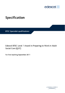 BTEC Level 1 Award in Preparing to Work in Adult Social Care specification