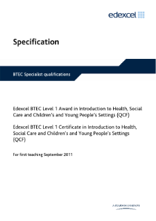 BTEC Level 1 Introduction to Health, Social Care and Children and Young People's Settings specification