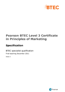Pearson BTEC Level 3 Certificate in Principles of Marketing
