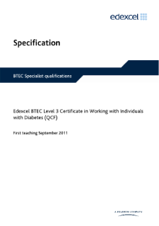 BTEC Level 3 Certificate in Working with Individuals with Diabetes specification