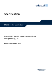BTEC Level 2 Award in Coastal Zone Management specification
