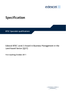 BTEC Level 3 Award in Business Management in the Land-based Sector specification