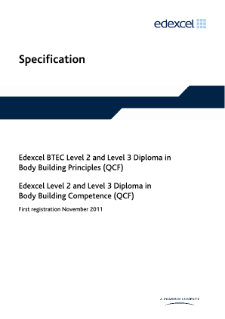 BTEC Level 3 Diploma in Body Building Principles specification
