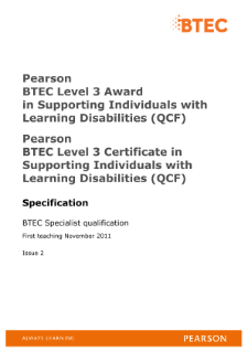 BTEC Level 3 Supporting Individuals with Learning Disabilities specification