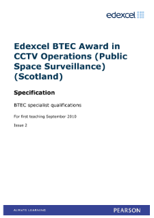 BTEC Level 6 Award in CCTV Operations (Public Space Surveillance) (Scotland) specification