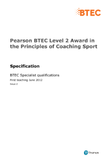 BTEC Level 1 Award in the Principles of Coaching Sport specification