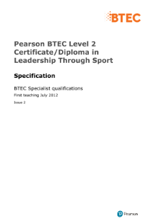 BTEC Level 2 Leadership Through Sport specification