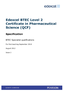 Pearson BTEC Level 2 Certificate in Pharmaceutical Science