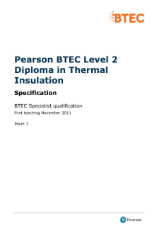 BTEC Level 2 Diploma in Thermal Insulation specification