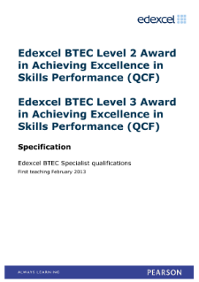 BTEC Level 2 Award in Achieving Excellence in Skills (Performance Excellence) specification