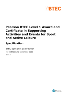 BTEC Level 1 Supporting Activities and Events for Sport and Active Leisure specification