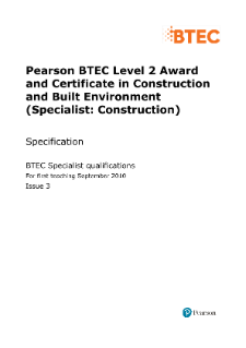BTEC Level 2 Construction and Built Environment (Specialist - Construction) specification