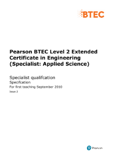 BTEC Level 2 Engineering (Specialist - Applied Science) specification