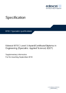 BTEC Level 3 Engineering (Specialist - Applied Science) specification