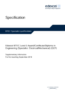 BTEC Level 3 Engineering (Specialist - Electrical/Mechanical) specification
