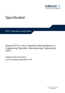 BTEC Level 3 Engineering (Specialist - Manufacturing Engineering) specification