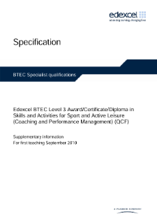 BTEC Level 3 Skills and Activities for Sport and Active Leisure (Coaching and Performance Management) specification