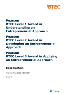BTEC Level 3 Award in Applying an Entrepreneurial Approach specification