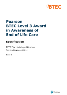 BTEC Level 3 Award in Awareness of End of Life Care specification