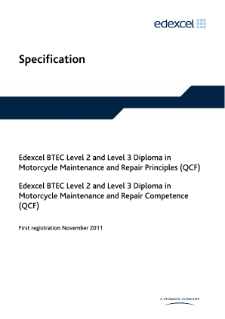 BTEC Level 3 Diploma in Motorcycle Maintenance and Repair Principles specification