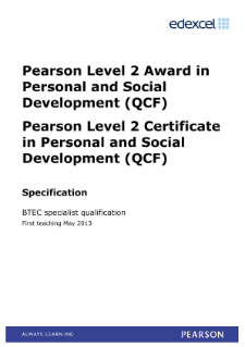 Pearson Edexcel Level 2 Personal and Social Development specification