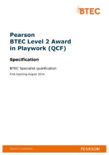 BTEC Level 2 Award in Playwork specification