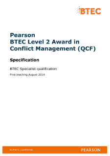 BTEC Level 2 Award in Conflict Management specification