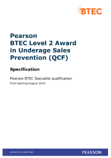 BTEC Level 2 Award in Underage Sales Prevention specification