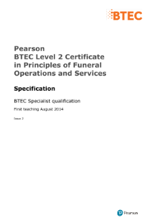 BTEC Level 2 Certificate in Principles of Funeral Operations and Services specification