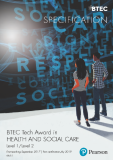 Pearson BTEC Tech Award in Health and Social Care specification