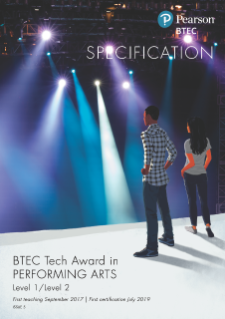 BTEC Tech Awards Performing Arts specification