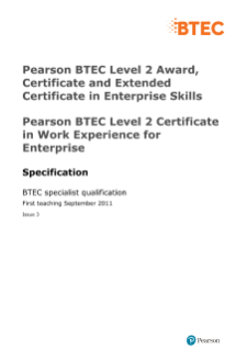 BTEC Work Experience for Enterprise specification
