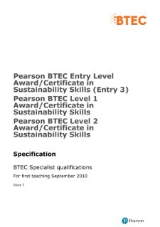 BTEC Sustainability Skills specification