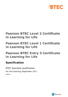 BTEC Certificate in Learning for Life specification
