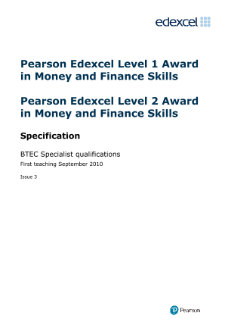BTEC Award in Money and Finance specification