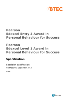 Edexcel Entry Level Personal Behaviour for Success specification