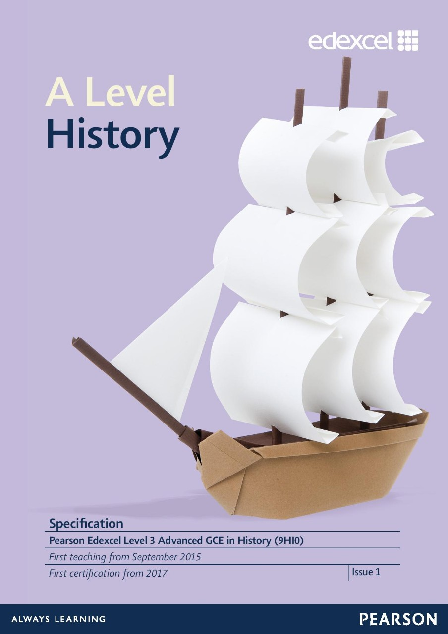 Link to Edexcel A level History specification page