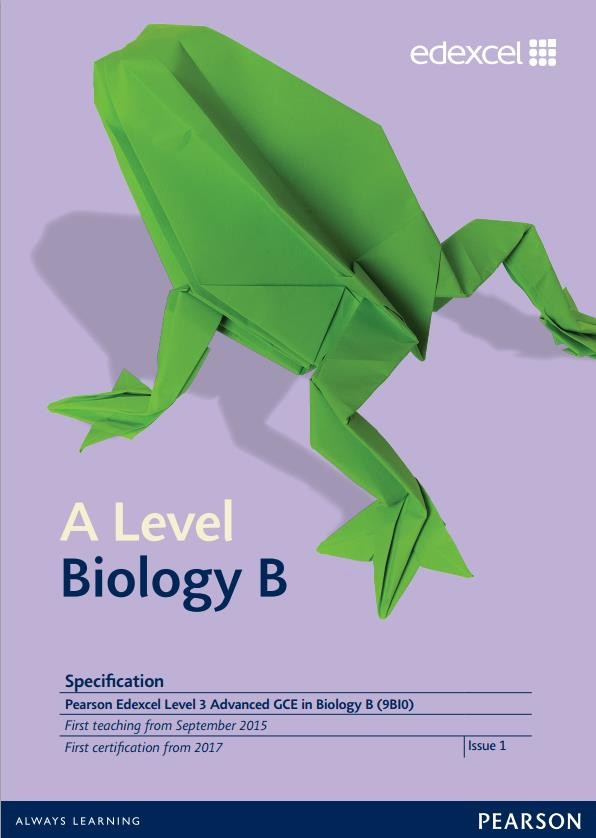 Link to Edexcel A level Biology B specification page