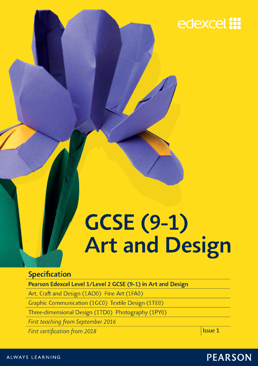 Link to Edexcel GCSE Art and Design (2016) specification page