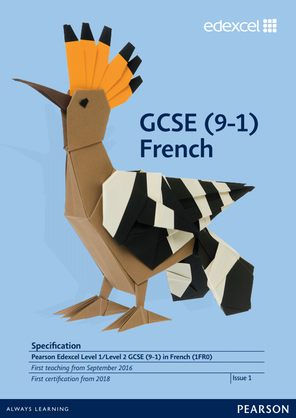 Link to Edexcel GCSE French (2016) specification page